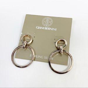 Silver Giani Bernini Circle Drop Earrings